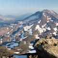Looking south toward South Sister (10,358'), Broken Top (9,177'), and Mount Bachelor (9,068') from the summit of Middle Sister.- Middle Sister, East Approach