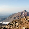 Looking north toward North Sister (10,085'), Belknap Crater, Mount Washington (7,795'), Three Fingered Jack (7,844'), and Mount Jefferson (10,495') in the distance.- Middle Sister, East Approach