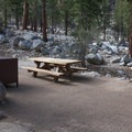A typical site at Whitney Portal Campground.- Whitney Portal Campground