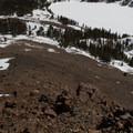 On low snow years, the talus ridgeline is often free of snow.- Dunderberg Peak, Southeast Face
