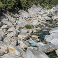 Polished granite boulders line the river at Highway 49 Crossing.- Highway 49 Crossing