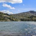 View from the northeast shore of Big Bear Lake.- Bear Lakes Loop via Round Lake