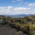 Climbing to Round Lake with Big Bear Lake in view.- Bear Lakes Loop via Round Lake