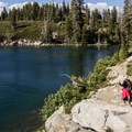 The trail passes by Round Lake's east shore.- Bear Lakes Loop via Round Lake