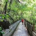 Much of the trail uses old converted wooden flumes as the path.- Independence Trail