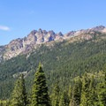 Sierra Buttes (8,587') as seen from the Gold Lakes Highway.- Sierra Buttes Trail