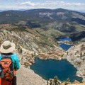 The trail rises above Young American and Sardine lakes.- Sierra Buttes Trail