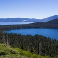 Sweeping views of Fallen Leaf Lake and Lake Tahoe's south shore.- Cathedral Lake