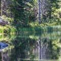 Tenkara fishing on Floating Island Lake.- Cathedral Lake