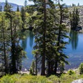 Cathedral Lake marks the halfway point to Mount Tallac's summit.- Cathedral Lake