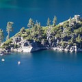 Fannette Island rises out of the middle of Emerald Bay.- Inspiration Point