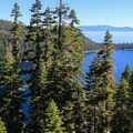 Emerald Bay, Fanette Island, and Emerald Point in view from Inspiration Vista Point.- Emerald Bay State Park