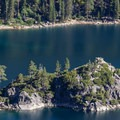 Fannette Island and the remains of the historic tea house perched on the island's summit.- Emerald Bay State Park