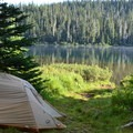 Easy lake access from campsite.- Timpanogas Campground