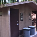 Vault toilets in Sacandaga Campground.- Sacandaga Campground