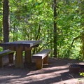 Campsites include picnic tables and fire pits.- Sacandaga Campground