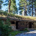 The sod roof and interior courtyard.- Vikingsholm