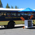 Shuttle buses provided by rafting outfitters transport rafters from take-out to put-in.- Truckee River Float