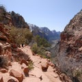 The narrow trail up to Angels Landing.- Angels Landing Hike