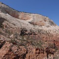 Looking up at Cathedral Mountain from the Angels Landing Trail.- Angels Landing Hike