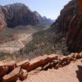 View south to Zion Canyon from the Angels Landing trail.- Angels Landing Hike