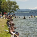 Mount Rainier (14,411') and Lake Washington from O. O. Denny Park.- O. O. Denny Park