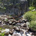 Summertime waders above Upper Eagle Falls.- Eagle Lake
