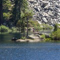 An island beckons swimmers at Eagle Lake.- Eagle Lake