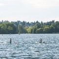 Paddlers on Green Lake.- Green Lake Park