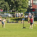 Green Lake Park sportsfields and volleyball set up.- Green Lake Park