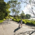 Green Lake Park's 2.8-mile paved loop trail.- Green Lake Park