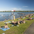 West Green Lake beach and swimming area.- Green Lake Park
