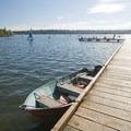 Boat dock at the Green Lake Boat Rental.- Green Lake