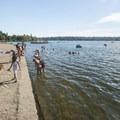East Green Lake beach and swimming area.- East + West Green Lake Beach + Swimming Area