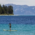 The beach affords access for stand-up paddleboards and personal water craft.- Meeks Bay Beach