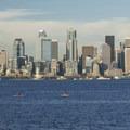 View of Elliott Bay and the Seattle skyline from Seacrest Park.- Seacrest Park