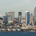 Downtown Seattle with Glacier Peak (10,540') from Hamilton Viewpoint Park.- Hamilton Viewpoint Park