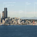 View of downtown Seattle and the North Cascades from Hamilton Viewpoint Park.- Hamilton Viewpoint Park