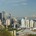 Downtown Seattle and Mount Rainier (14,411') from Kerry Park.- Kerry Park Viewpoint