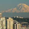 Mount Rainier (14,411') with Little Tahoma Peak (11,138') to its left.- Kerry Park Viewpoint