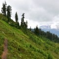 Mount Baker hides in the clouds north of Dock Butte.- Dock Butte Hike