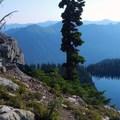 Above Minotaur Lake, the blue waters of Thesus Lake appear.- Minotaur Lake