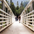 The new 224-foot aluminum bridge replaced the old wooden one after it collapsed from storm damage in 2006.- Big Four Ice Caves