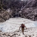 Carefully walking up the snowfield.- Big Four Ice Caves