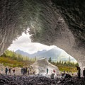 Inside the cave looking back at the entrance.- Big Four Ice Caves