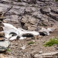 A cairn in front of the secondary snowfield northwest of the primary snowfield.- Big Four Ice Caves