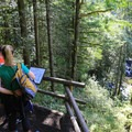 Lookout with informational panel.- Wallace Falls + Lake via Greg Ball Trail