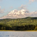 Mount Rainier (14,411') makes it's first apperance of the day.- Alder Lake