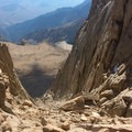 Looking down the chute at the Mountaineers Route.- Mount Whitney: Mountaineers Route