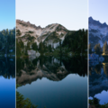 Lake and peaks, evening and morning light.- Chain + Doelle Lakes
